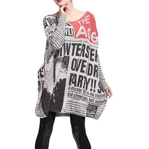 Sweaters - Baggy Newspaper Print Crew Neck Pullover Sweater